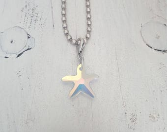 twenyonehappinezz • silverplated ballchain necklave with a swarovski hanger: sea star.