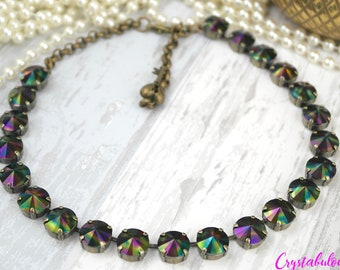 Black Crystal Necklace, Green Necklace, Swarovski Necklace, Rainbow, Statement Necklace, Fashion Necklace, Swarovski Jewellery, Trendy, Gift