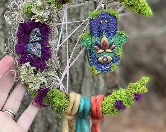 Crescent moon wreath, hamsa , evil eye, crystal decor, dream catcher, witch decor, pagan decor, altar, oddities , witchy wall art