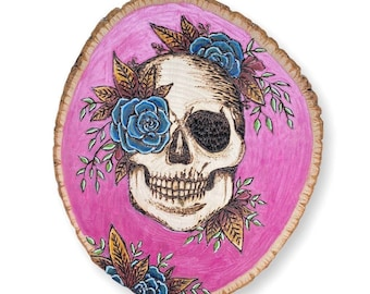 Skull with flowers, wood slice art, wood burned skull, occult decor, witch decor, pyrography, Wicca art, sugar skull, altar decor