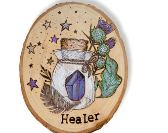 Wood burned sign, pyrography, healer, witch decor, crystal decor, wood slice art, occult decor, green witch, thistle art, live edge