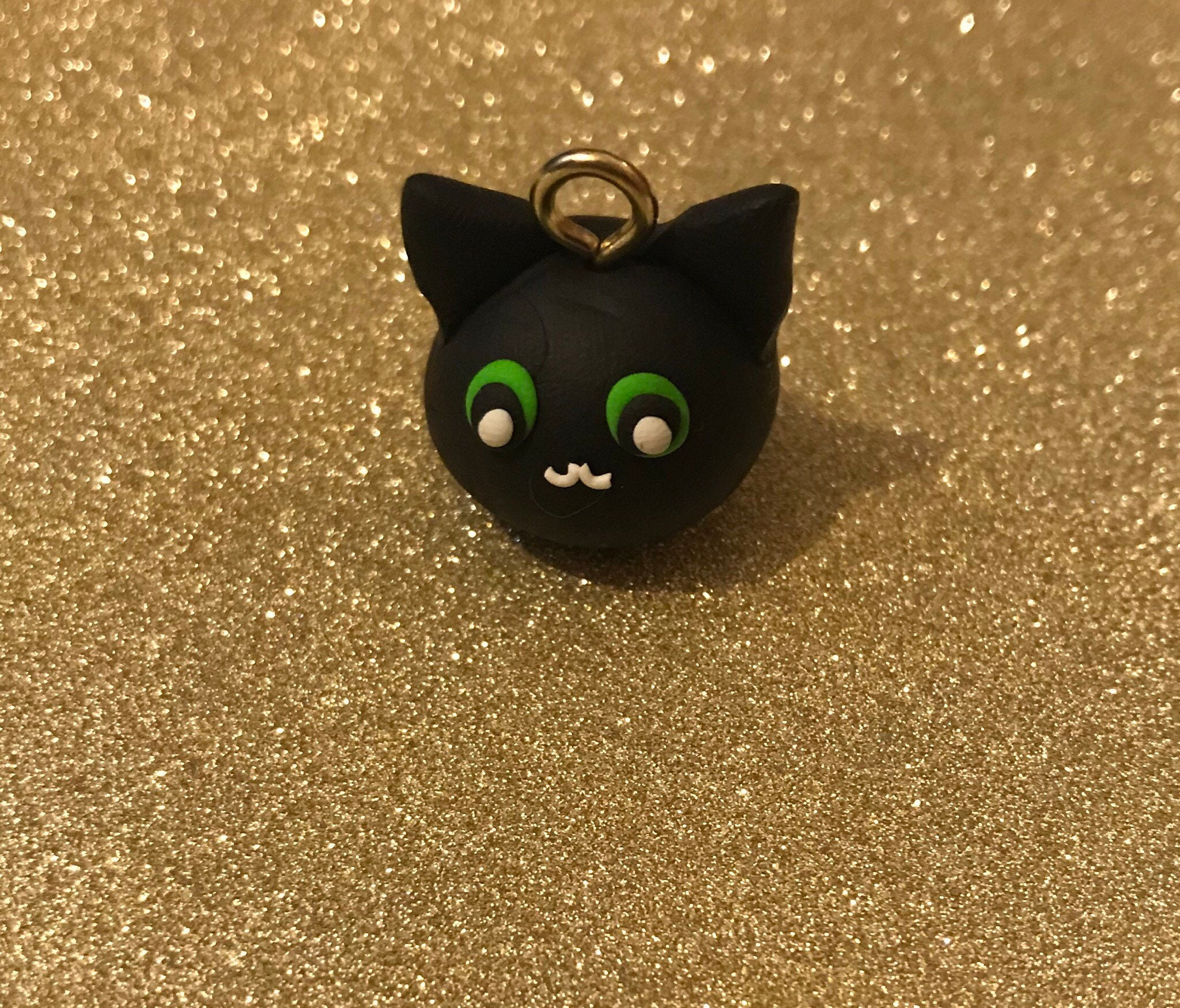 halloween cat clay charm halloween charm cat charm polymer | etsy