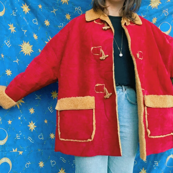 Red shearling coat / faux shearing vintage coat/ c