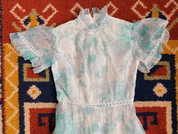 1970's pastel dress / 70's floral summer dress / c