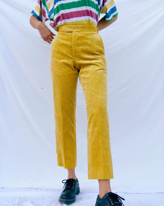 Vintage yellow corduroy 90's trousers high waisted