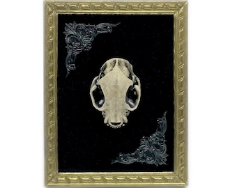 Little Antique Metal Frame with Cat Skull on Velvet - Gothic Home Deco