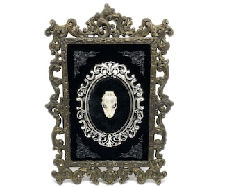 Antique Metal Frame with a Tiny Real Bat Skull - Gothic Home Deco