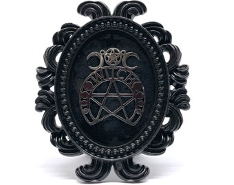 Silver Witch Ornament on Black Velvet in a Small Round Black Frame -  Gothic Home Deco