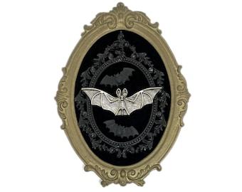 Bats on Black Velvet in a Vintage Metal Frame Gothic Home Deco