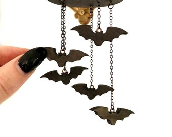 Tiny Bat Mobile with Hand Cut Wood Black Bats and Black Chain