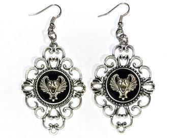 Silver Gothic Gargoyle Bat and Black Velvet Earrings