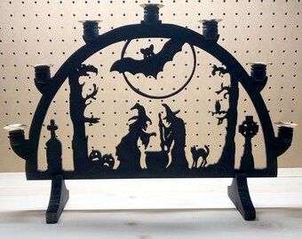 CLEARANCE - Witches in a Forest Graveyard with Bat and Moon - Hand Cut Wood 7 Candle Holder Schwibbogen - Spooky Woodart