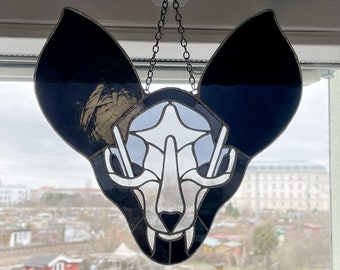 Black Bat Skull - Original Design - Gothic Stained Glass
