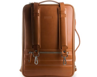 48Hr Switch 3in1 Leather Bag - Bonus: FREE PERSONALISATION - Messenger, Briefcase, Backpack from Tefors
