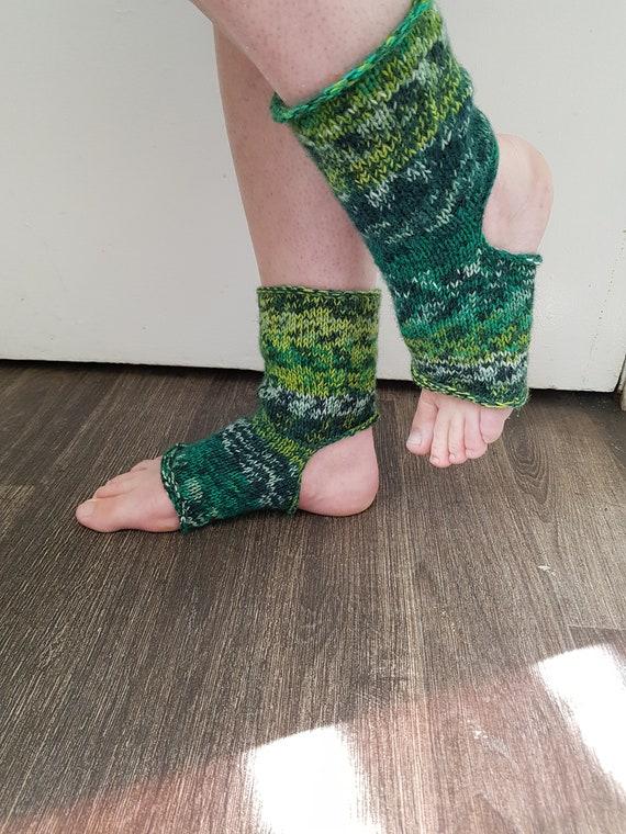 Yoga Socks Toeless Heelless Dance Pilates Handmade Socks
