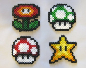 Super Mario Power-up Perler Art