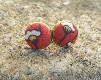 Chips Japanese fabric ears Fleur Rouge bronze metal - stitched hand