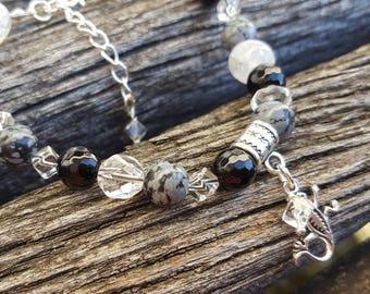 Bracelet Meditation et Zen - Gemmes Obsidienne Agate Noire Cristal de Roche
