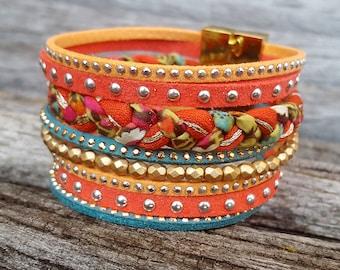 Bracelet Manchette Winter Bohemian Chic Taille L 19cm Suédine strass Corail orange Turquoise doré