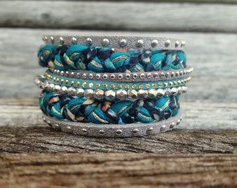 Bracelet Manchette Winter Bohemian Boho Chic Taille M 19 cm Suédine strass Gris Turquoise