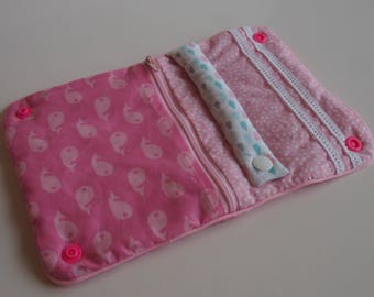 Pouch/clutch with jewels of journey in shades of pink - perfect for little girls