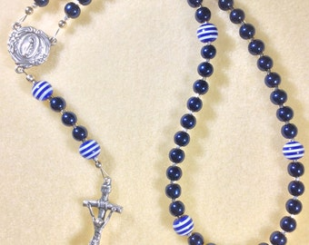 Navy Blue with White Striped Rosary