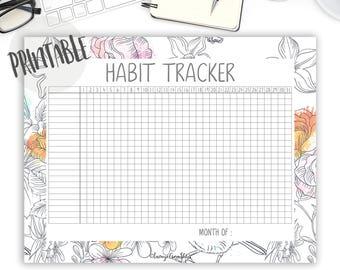 habit tracker printable pdf goal tracker self care goal planner daily habit tracker desk planner bullet journal printable floral