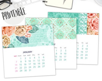 Printable Calendar 2018 Monthly, Floral Calendar, Desk Calendar, Instant Download, Digital, PDF, Wall Calendar, Pastel, Monthly Calendar