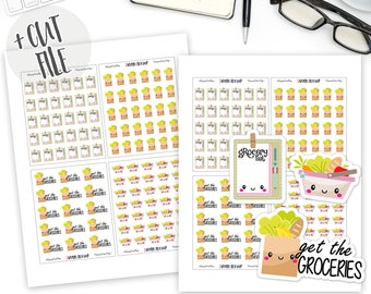 Printable Groceries Stickers, Grocery Planner Stickers, Get the Groceries, Bullet Journal Stickers, Functional Stickers, Kawaii, Cute