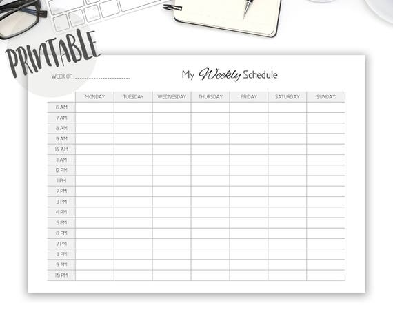 Weekly Schedule Printable Class Work