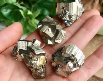 Set of 4 ! Sparkly Golden Pyrite Crystals Set !  !
