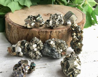 Set of 9 ! Sparkly Golden Pyrite Crystals Set !