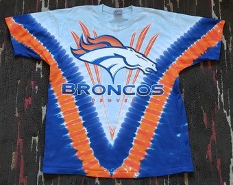 Liquid Blue Vintage 90 s Denver Broncos Big Logo Trippy Psychedelic Tie Dye  T-shirt Large 0759d1db6