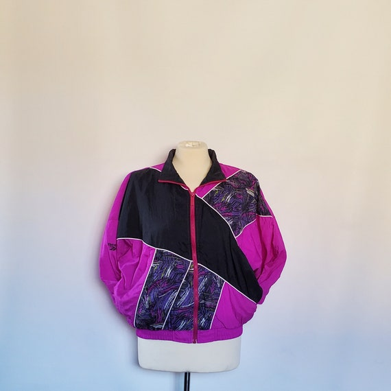 Reebok Vintage 90's Pink Black Windbreaker Set Med