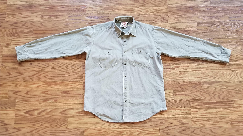 ea1a67ca7c0 Columbia Vintage 90's Snap Khaki Button Down Medium | Etsy