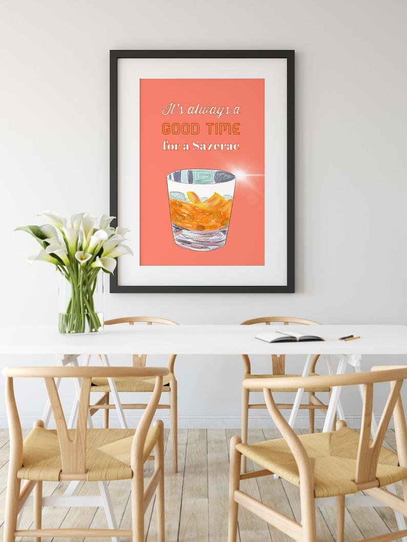 Cocktail Print Art Print Decor Cocktail Quirky Fun Print Modern wall art Illustration Wall Decor Sazerac Cocktail bold Wall Art Print