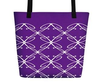 J Monogram Tote Beach Bag Initial All Over Letter Print Customizable Gift