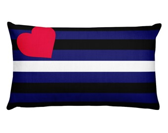 Gay Leather Pride Rectangular Throw Pillow, BDSM Fetish Pride Flag Gift