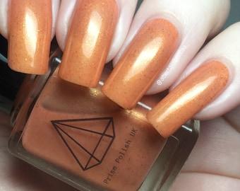 Jiminie - a metallic peach  BTS inspired UK handmade indie nail polish with bronze flakies