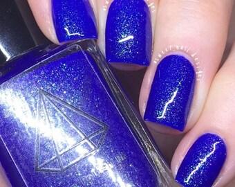 Spring Equinox - royal blue with green/blue sparkly shimmer UK indie handmade nail polish