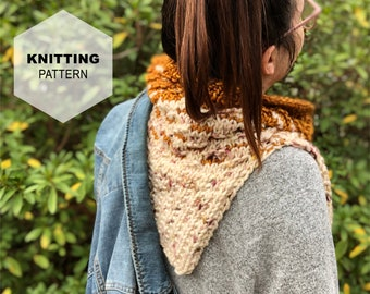 Little Wanderer Cowl- A Knitting Pattern. Split side cowl, Multiple sizes, Knit Cowl.