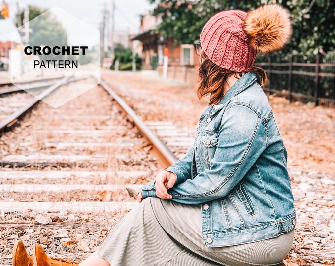 Featured listing image: 5th Street Slouch Crochet Beanie Pattern- Multiple sizes in one pattern