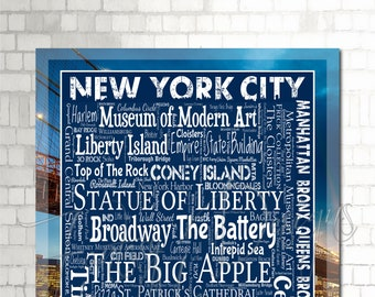 New York City Wall Art, NYC Print, Décor, Gift, Typography, Destination, Everything NYC, Big Apple