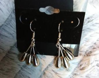 3 bead silver dangle earrings
