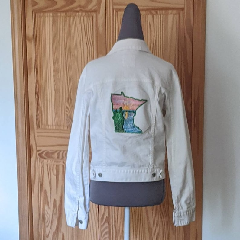 custom embellishments Up-cycled one of a kind Embroidered Jean Jacket Minnesota landscape sunset.