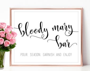 Bloody mary bar sign Bloody mary sign Bridal Shower bar decoration signs 4x6 5x7 8x10 PDF JPEG Instant download