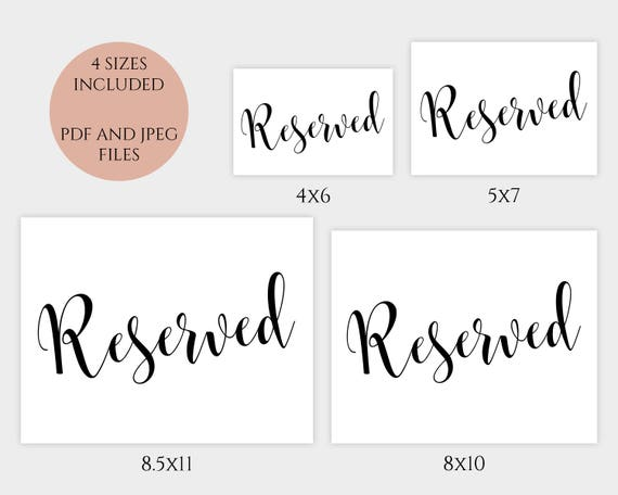 Wedding Reserved Sign Printable Reserved Table Sign 4x6 5x7 8x10 Pdf