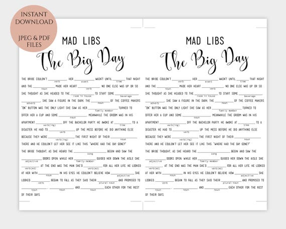graphic about Mad Libs Printable Pdf named Wedding ceremony Madlibs printable Humorous \