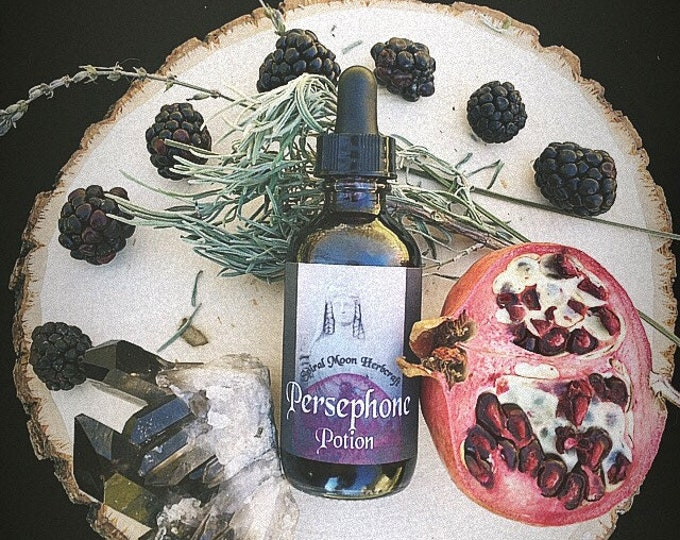 Persephone potion, non alcohol, glycerin based tincture with warming spices, dark sensuous fruits and berries