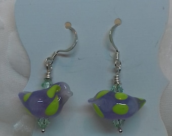 Earrings purple/ yellow spotty birds with Swarovski crystals and sterling silver